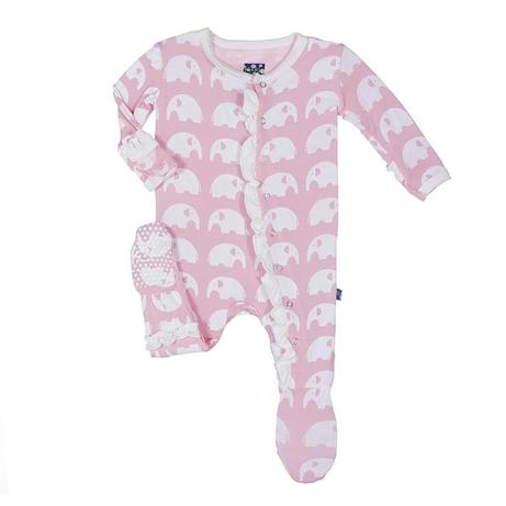 "KicKee Pants ""Classic Ruffle Footie with Snaps"" Pink Elephant"