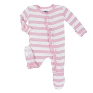 "KicKee Pants ""Classic Ruffle Footie with Snaps"" Pink Stripe"