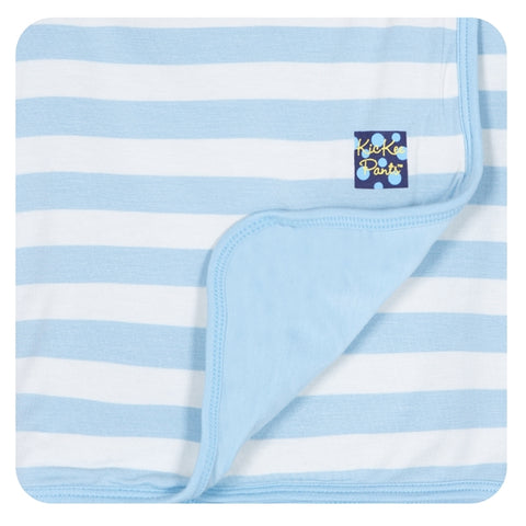 "KicKee Pants ""Essential Swaddling Blanket"" Blue Stripe"