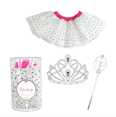 "Pink Poppy ""Tutu-To-Go"" 3-Piece Set White/Pink"