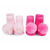 Waddle Pom Pom Rattle Socks Light Pink/Fuchsia