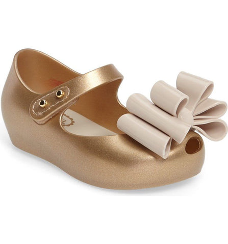 "Mini Melissa ""Ultragirl Sweet I"" Peep-Toe Flat Gold"