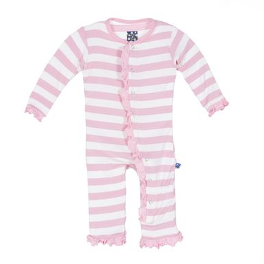 "KicKee Pants ""Classic Ruffle Coverall with Snaps"" Pink Stripe"