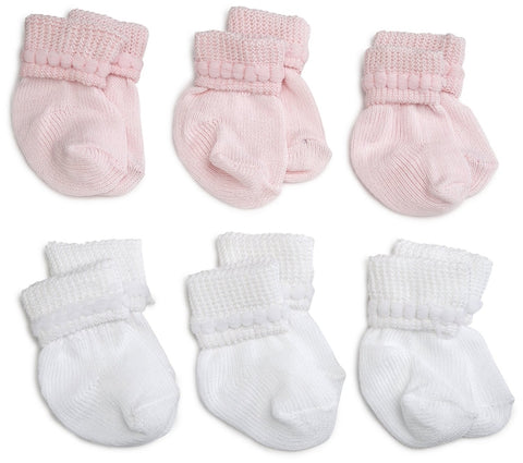 "Jefferies ""Rock-A-Bye"" 6-Pack Socks White/Pink"