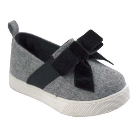 Baby Deer Grey Wool with Black Bow Slide On