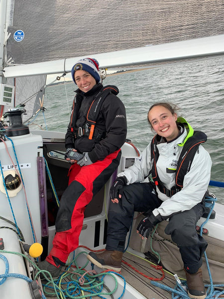 TeamO Marine Lifejackets being worn by the crew of Corby 29 Cutlass as part of the partnership between TeamO and the RNSA Royal Naval Sailing Association
