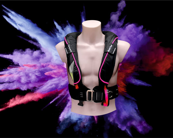 Teamo marine Fluro Pink Lifejacket with BackTow Technology. Pink and Purple lifejacket