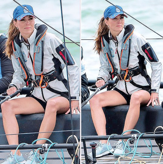Catherine, Duchess of Cambridge, TeamO lifejacket, sail, sailing, The Kings Cup, Fast 40 yacht