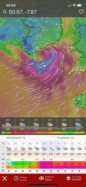 Storm Ellen weather forecast grib file stormy weather Irish Sea