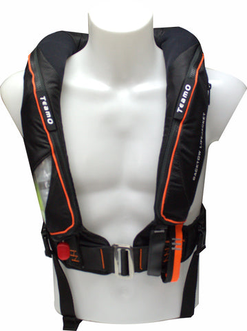 170N Offshore Backtow Lifejacket DeckHarness in Black