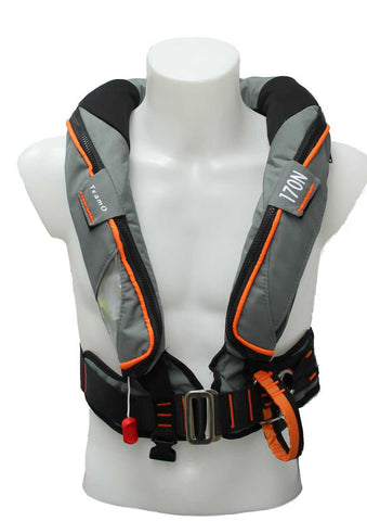 170N Offshore BackTow Lifejacket DeckHarness in Grey