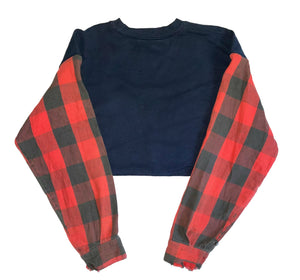 CRUSH YOU CROPPED FLANNEL CREWNECK