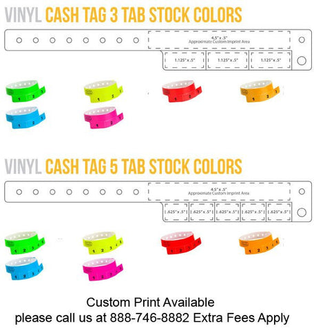 Cash tag 3 or 5 tab vinyl. Custom print available.