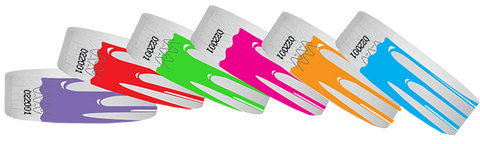 Paper wristbands with designs.