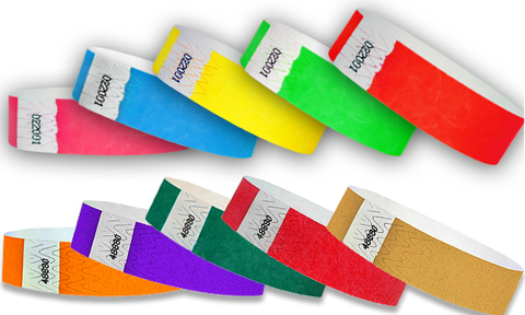 Solid Colors for our paper wristbands.