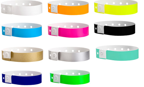 Many colors to choose from our plastic wristband inventory