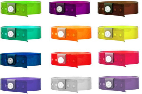 Vinyl wristbands with snap enclosures for resorts.