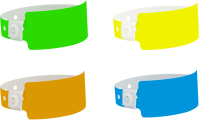 Wide vinyl Plastic Wristbands. Custom print your logo.