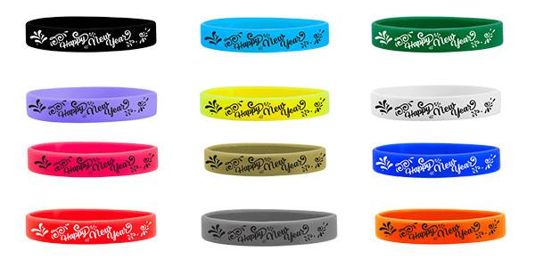 1/2 Inch Silicone Happy New Year Wristbands
