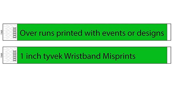 3/4 inch Tyvek Misprint Wristbands
