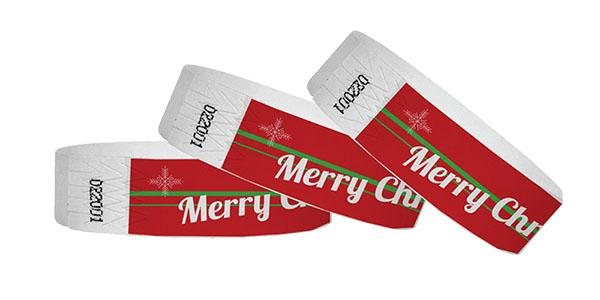 3/4 Tyvek Wristbands Merry Christmas