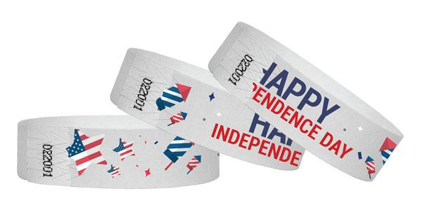 3/4 Wristbands Happy Independence Day  Full Color 500 Pack