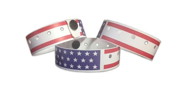 American Flag Plastic Wristbands