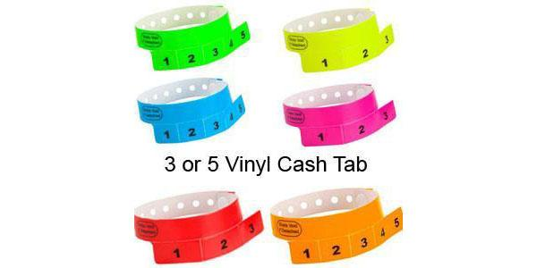 CASH TAG 3 - 5  Tabs Vinyl Wristbands 500 Box