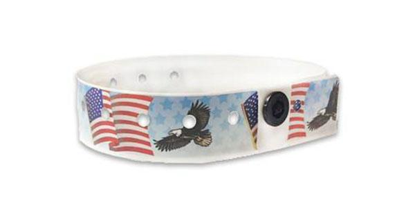 Plastic American Flag Wristbands with Eagle