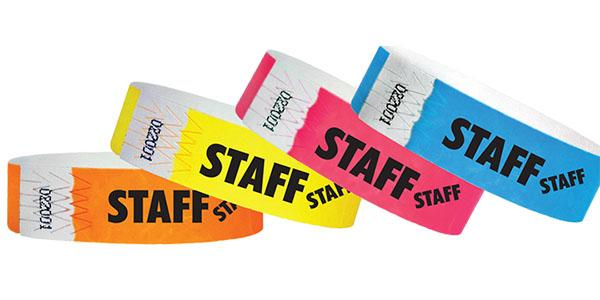 "3/4"" Standard Wristbands STAFF Limited Time Sale"