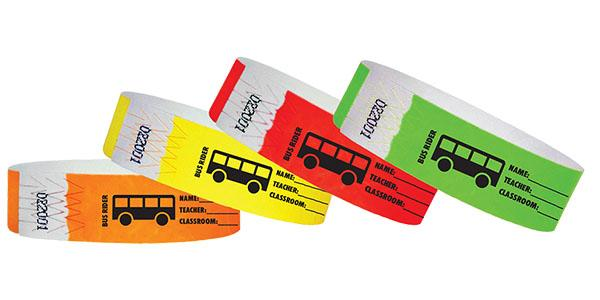 "3/4""  Tyvek Bus Rider/Teacher Wristbands"