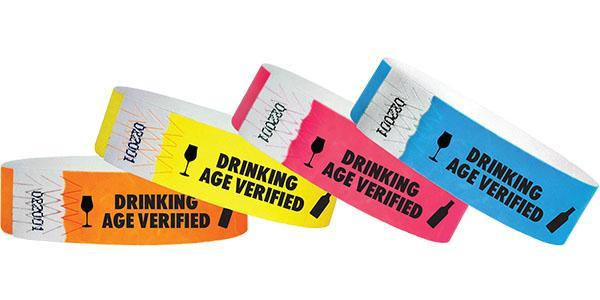 "3/4""  Tyvek Drinking Age Verified Wristbands Sale"