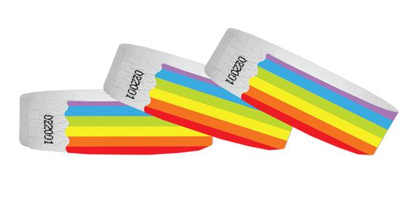 3/4 Tyvek Wristband Rainbow - No Numbers