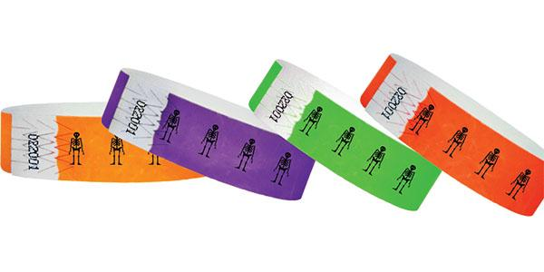3/4 Tyvek Wristband Halloween/Skeleton
