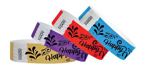 3/4 Tyvek Wristband Happy New Year