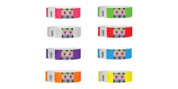 3/4 Tyvek Wristbands Solid Colors Security Foil
