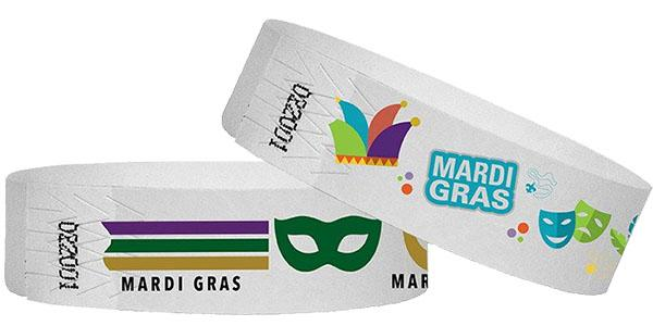 3/4 Wristbands Mardi Gras Full Color 500 Pack