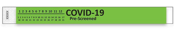 green Covid-19 pre-Screened Tyvek Wristbands