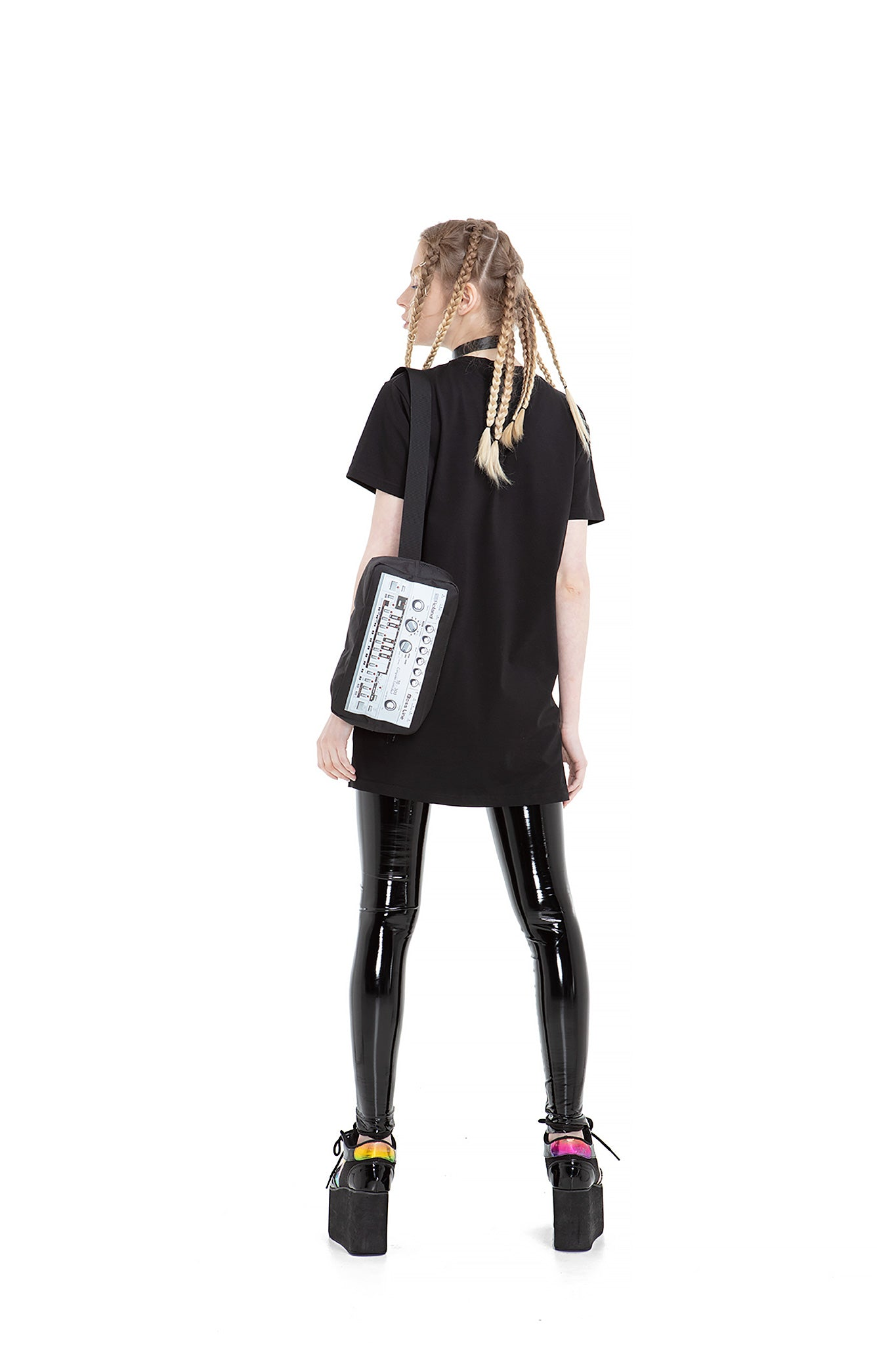 Synth crossbody bag.