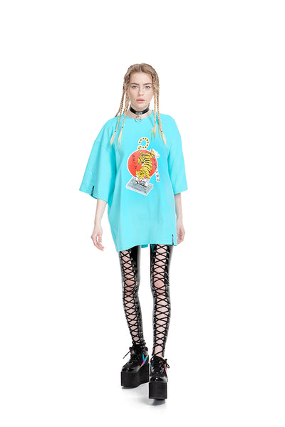 Acid Tiger [Mint] Unisex Oversized T-shirt