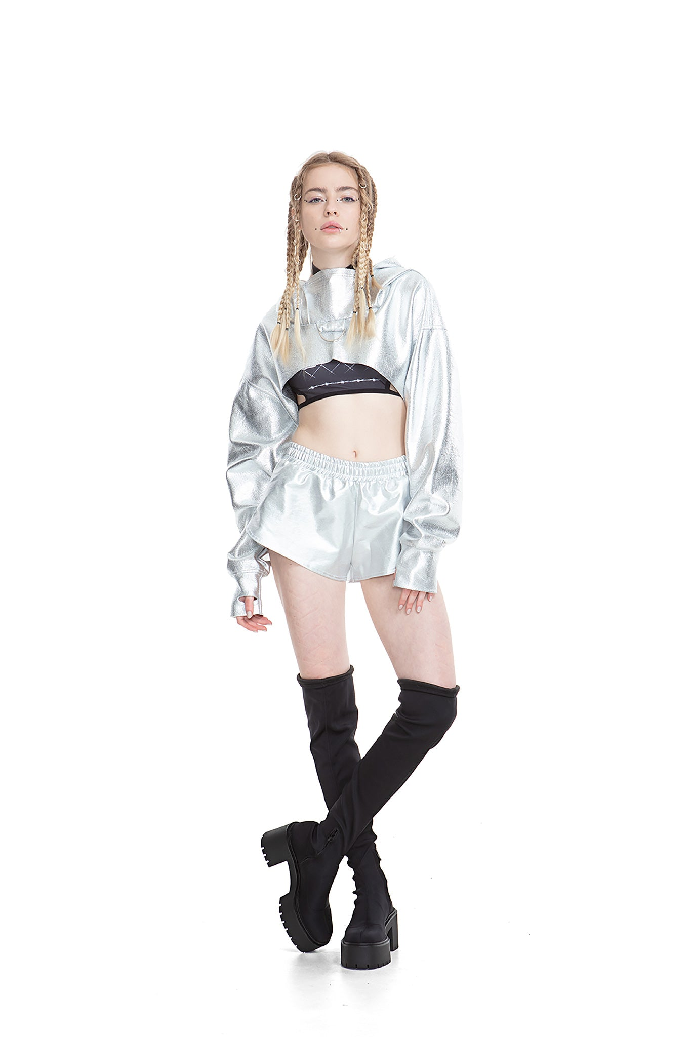 Silver cropped hoodie