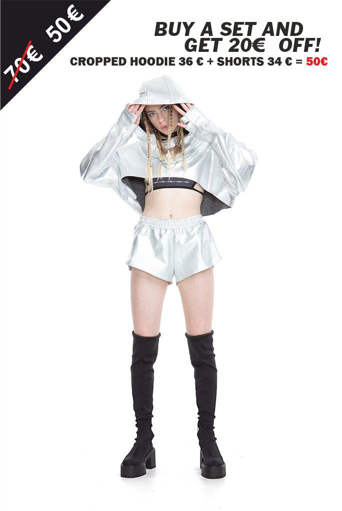 Silver  - Cropped Hoodie + Shorts