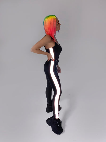 Unitard with reflective stripes