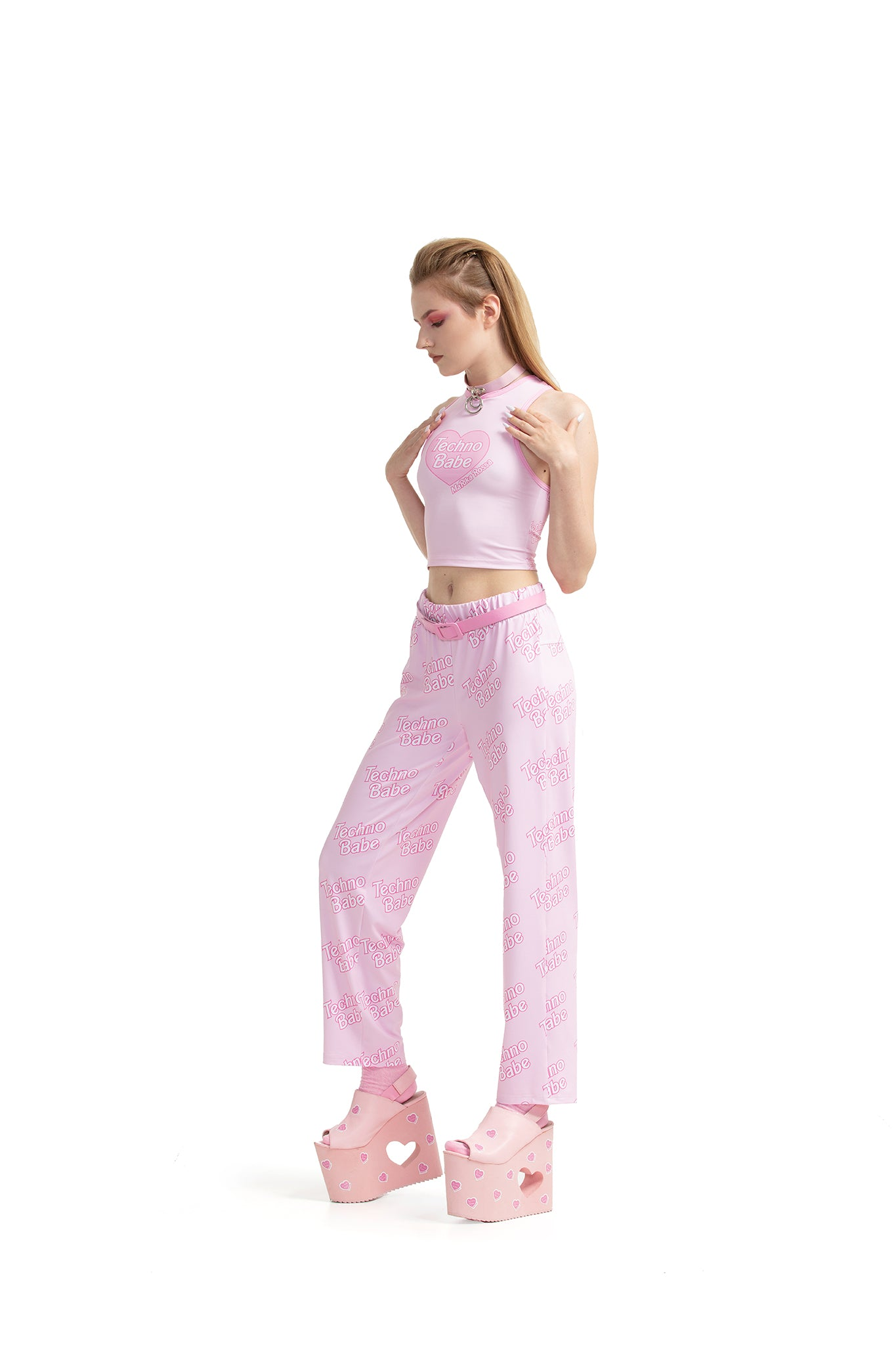 Techno Babe [Pink] - cropped top