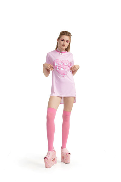 Techno Babe [Pink] - regular fit T-shirt with side cuts