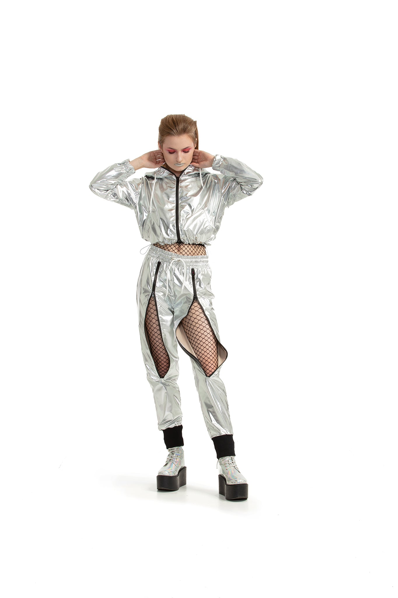 Silver - ZIP-up trousers