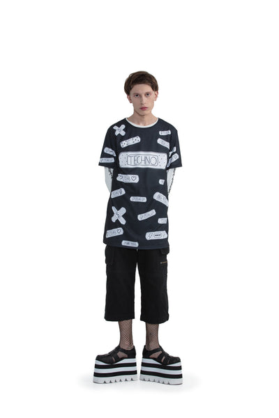 Techno Bandaids - oversized T-shirt [Black]