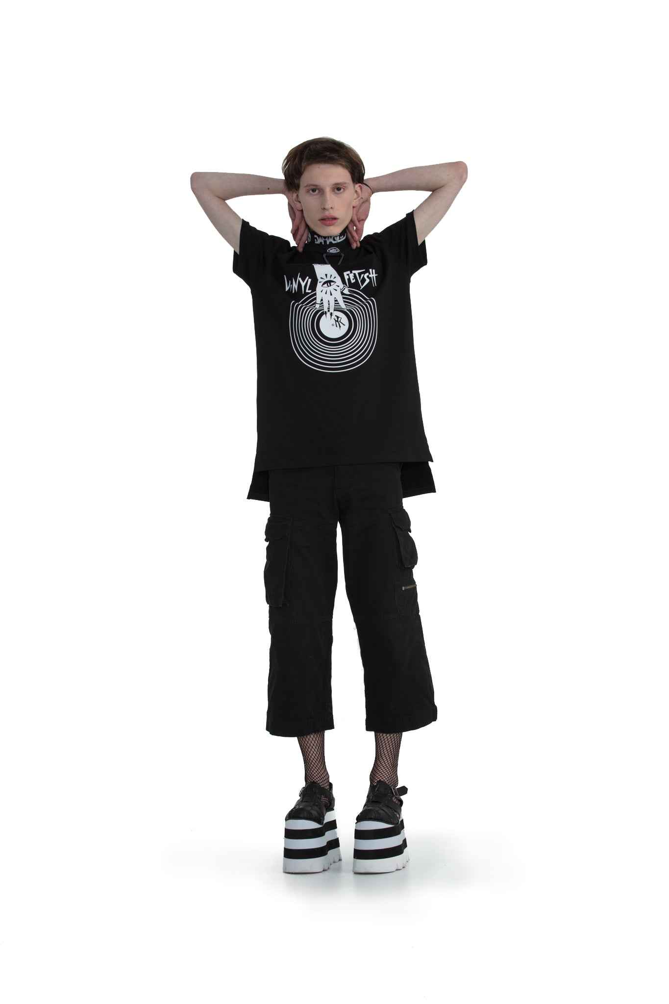 Vinyl Fetish - regular fit T-shirt with side cuts