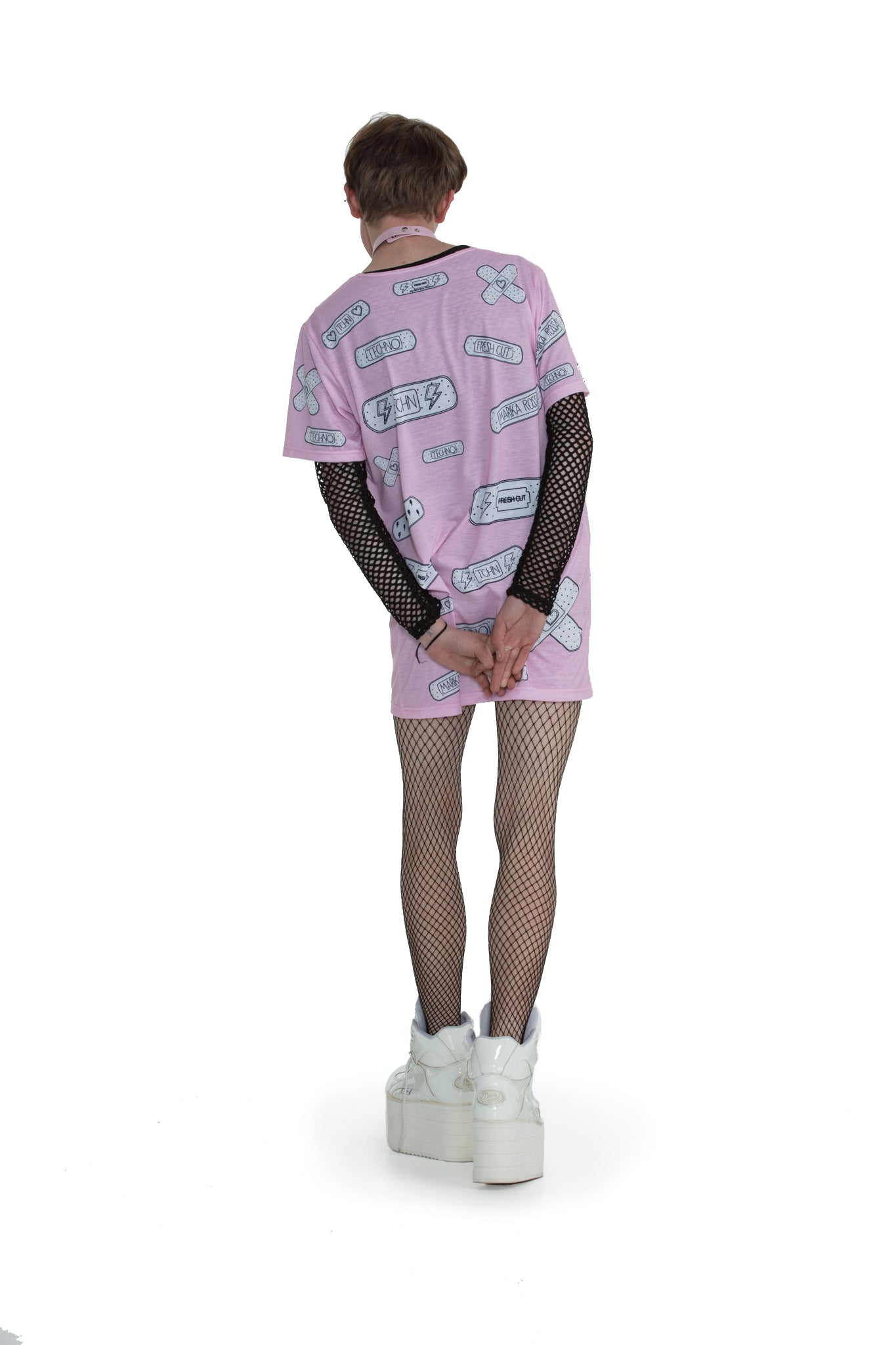 Techno Bandaids - oversized T-shirt [Pink]