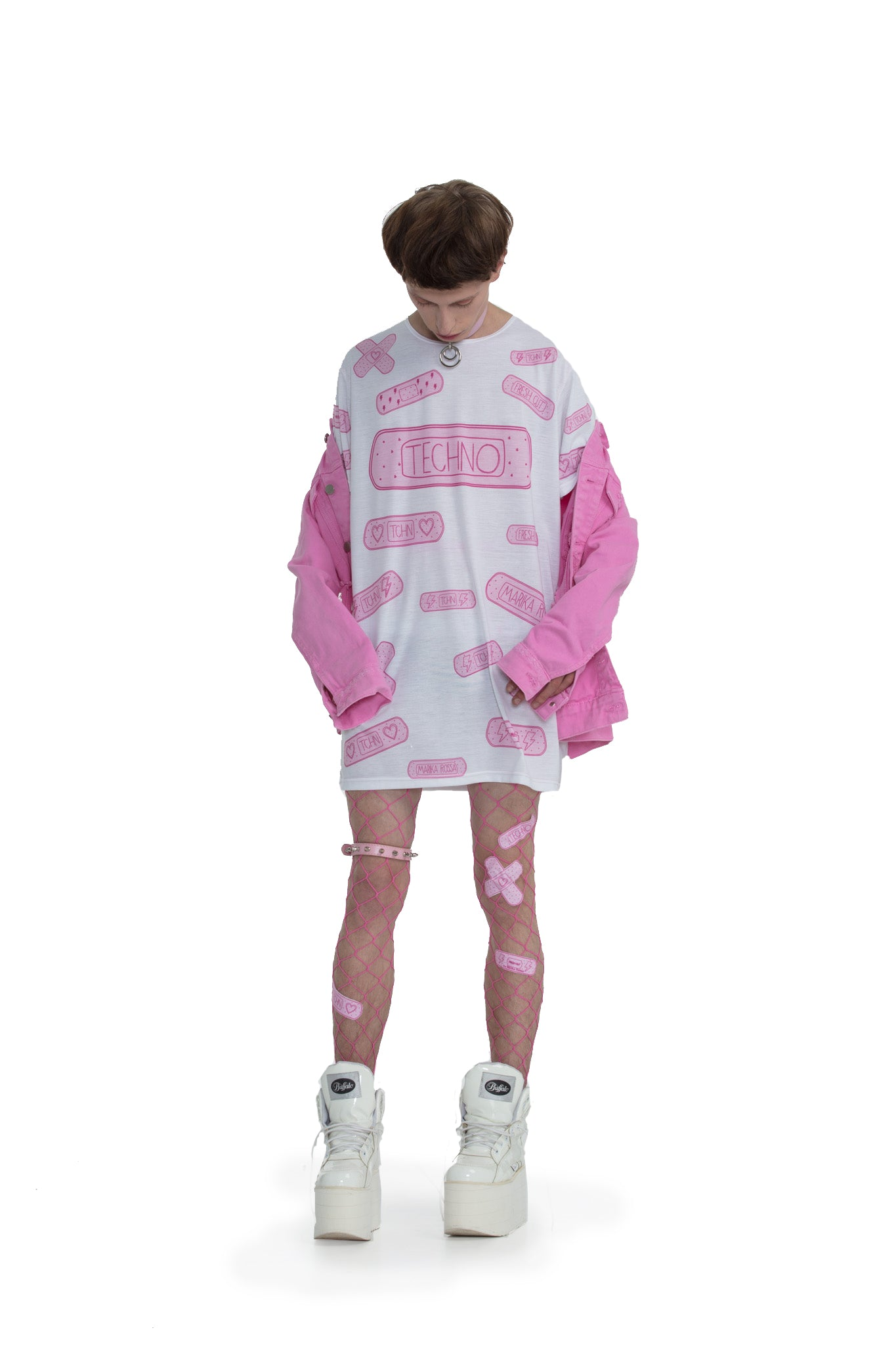 Techno Bandaids - oversized T-shirt [White]